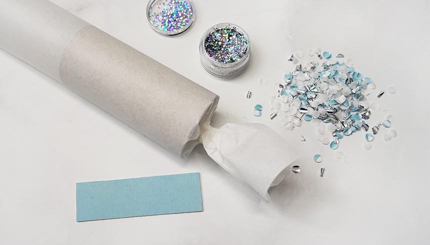 Bastelmaterial für Knallbonbons aus Butterbrotpapier
