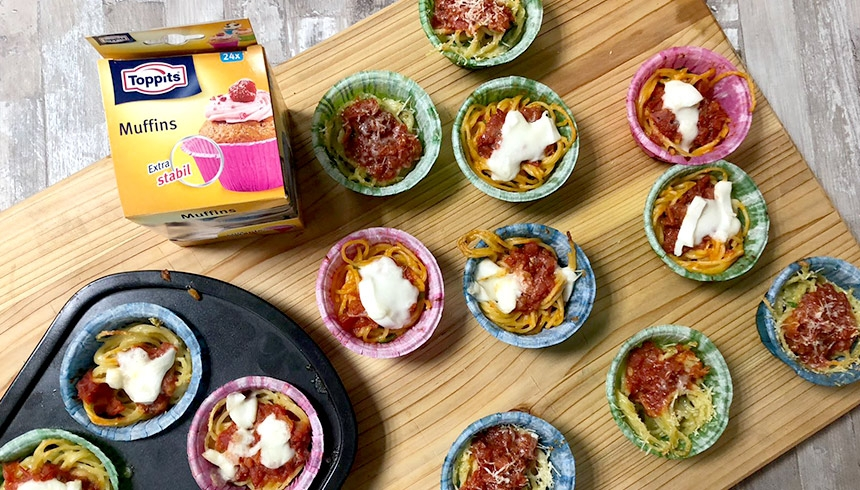 Leckere Spaghetti-Nester in Toppits® Stable Muffins