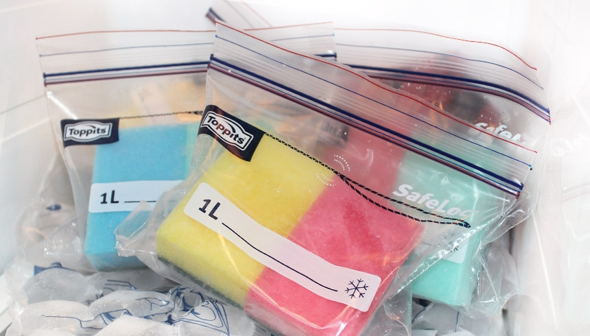 Toppits® Gefrierbeuteln als Kühlpack verwendet