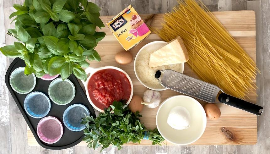Zutaten für leckere Spaghetti-Nester