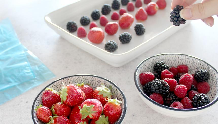 Frische Beeren bereit zum Einfrieren mit Toppits®
