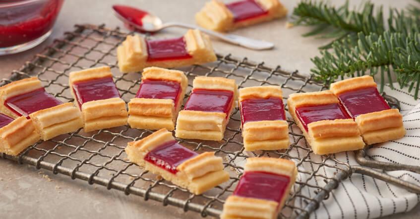 Eisenbahner Kekse mit Marmelade